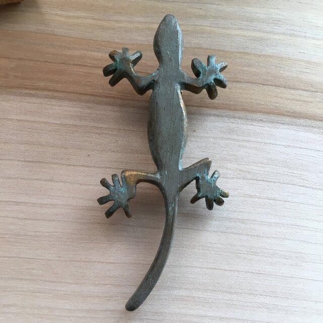 bronze gecko brooch 0423の画像1枚目