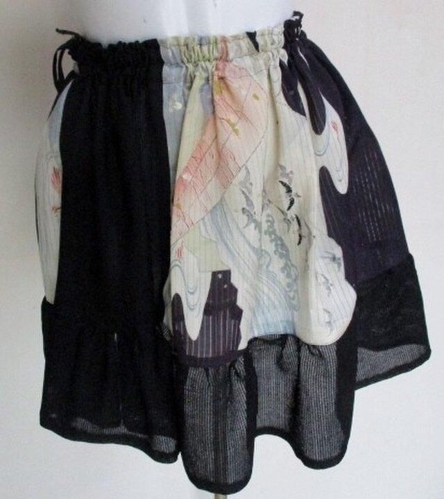 送料無料 絽の帯と着物で作ったミニスカート 3468の画像1枚目