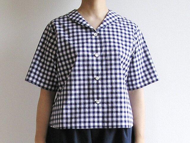 播州織コットン*ヘチマカラーのクラシカル・ブラウス(青×白・ギンガムチェック)の画像1枚目