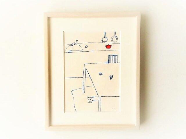 「キッチンと犬」イラスト原画 ※額縁入りの画像1枚目