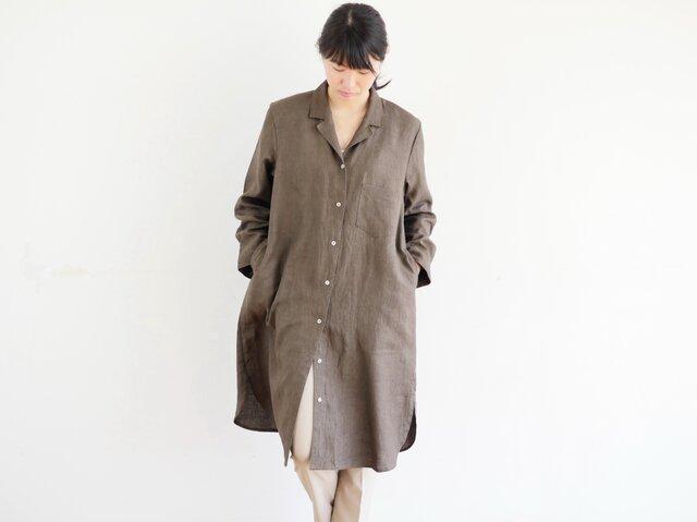 エシカルヘンプオープンカラーシャツワンピース カレン族黒檀染め 茶色 Sの画像1枚目
