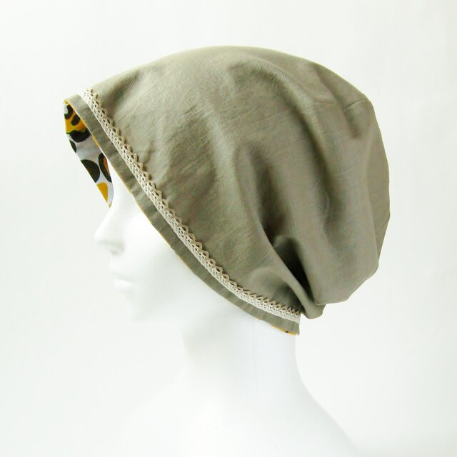 夏に涼しく下地にもなる ゆったりガーゼ帽子 カーキレース付 黄色花柄 (CGR-009-KYH)の画像1枚目