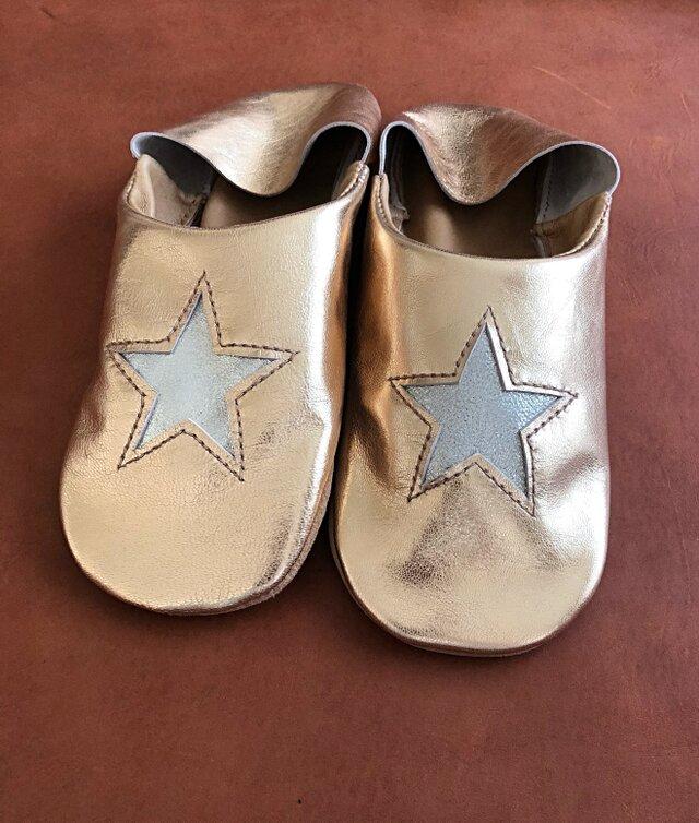 キラキラお星さまバブーシュ(ゴールドxシルバー)の画像1枚目