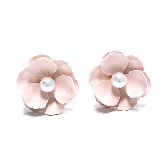 【1ペア】Anemonneライトピンクカラーパール付き花チタン芯ピアスの画像1枚目