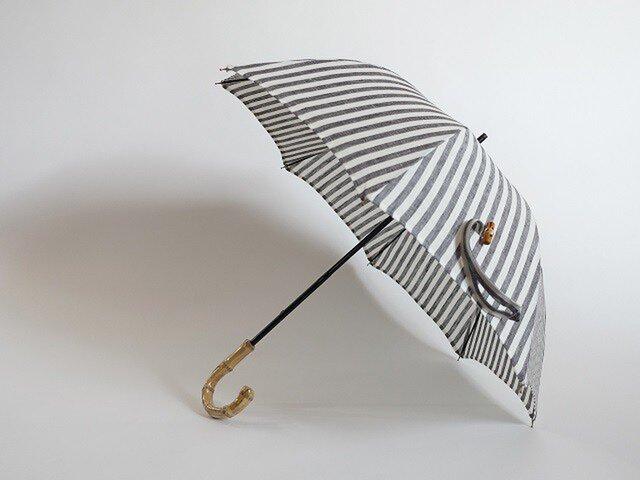 バンブー持ち手リネン日傘2段階調節<ストライプグレー>の画像1枚目