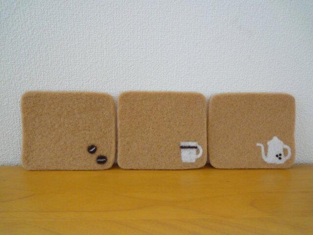 羊毛フェルトコースター*Cafe・ラテの画像1枚目