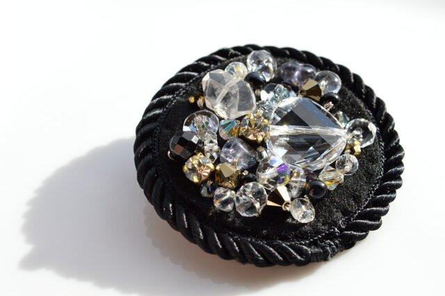 秋冬服のダークカラーに映える輝き・スワロフスキー 半貴石 ビジュー ブローチ ハーキマー水晶の画像1枚目
