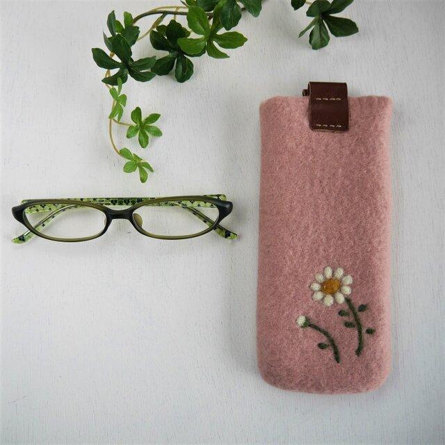 フェルトの小花柄メガネケース ピーチピンク色*受注制作*の画像1枚目