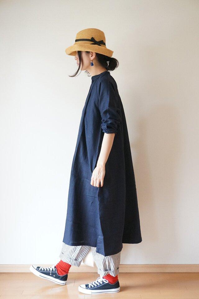 Linen One piece coat LADY'S NAVYの画像1枚目