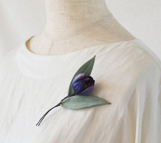 染の草花・一輪挿しチューリップのコサージュの画像1枚目