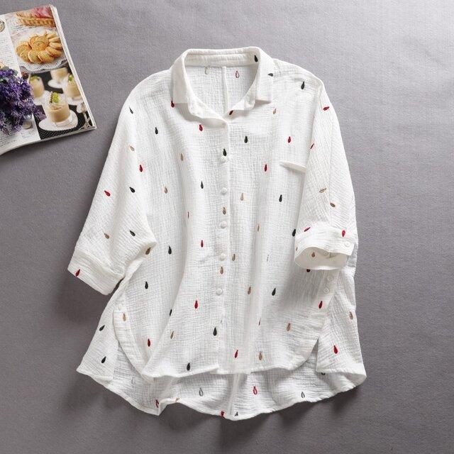 f8042409 雫刺繍 コットン100%  カットソー シャツ トップス 7分袖の画像1枚目