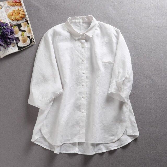 f8042411ブラウス麻 天然 リネン カットソー 清涼感 シャツ トップス 無地 7分袖 ホワイトの画像1枚目