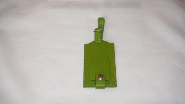 牛革ネームタグツートン(黄緑、緑)の画像1枚目