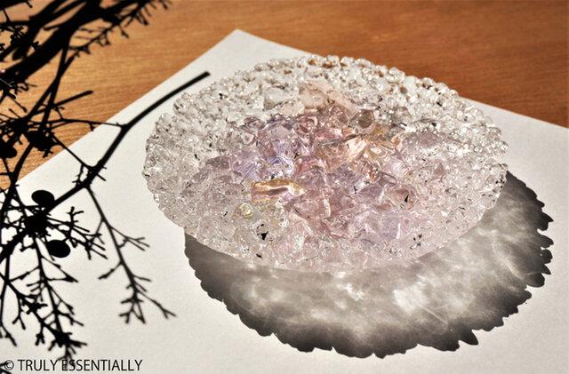 ガラスのアクセサリートレイ -「 KAKERAの光 」 ● さくら・12cmの画像1枚目