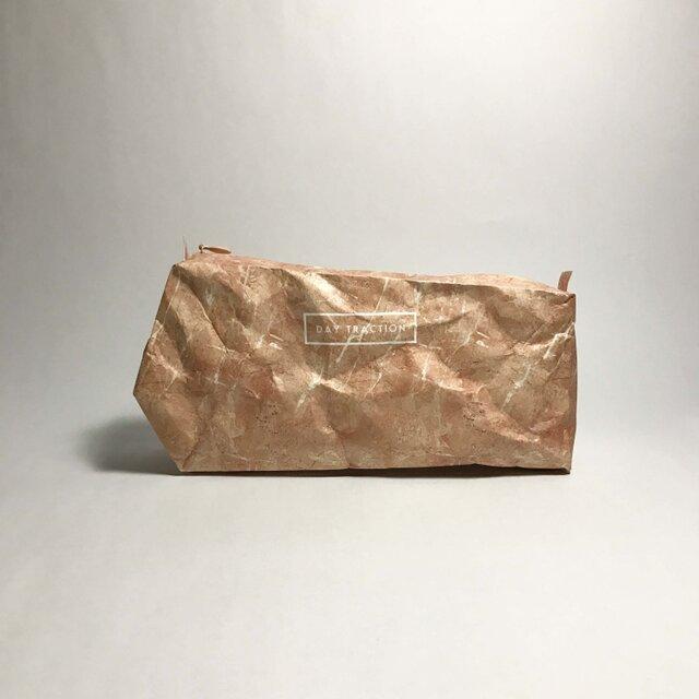 石材のようなビッグサイズポーチ Like a stone  (size:M) Tea roseの画像1枚目