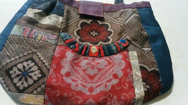着物リメーク 大島紬のバッグ  1割引きしました。の画像1枚目