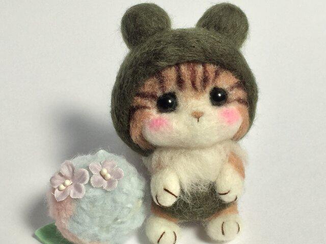 水無月 6月 梅雨 カエル帽子のにゃんこ 紫陽花と一緒に~の画像1枚目