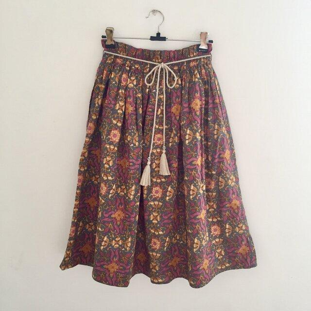 インド綿プリントミモレ丈スカート <MR181205>の画像1枚目