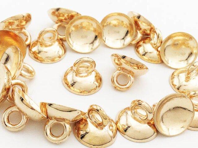 送料無料 ガラスドーム キャップ ゴールド 20個 10mm カン 付き ガラスドームカバー アクセサリー  (AP0495)の画像1枚目