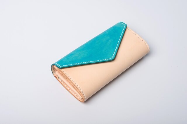 【切線派】手紙 牛革手作り手縫い収納オルガン長財布手染め / 総手縫い の画像1枚目