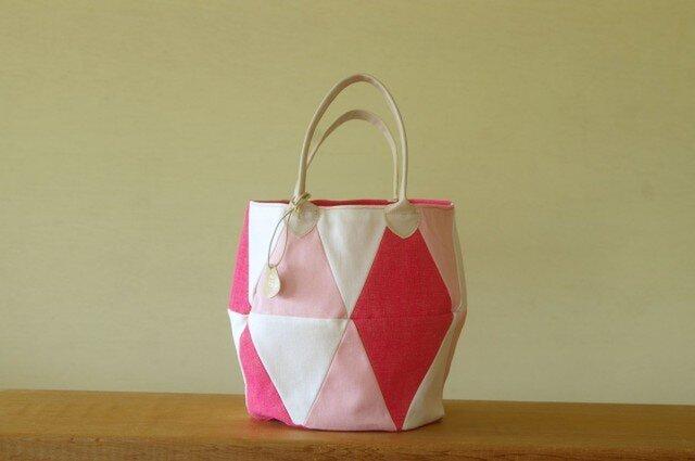 三角トート ピンク2の画像1枚目