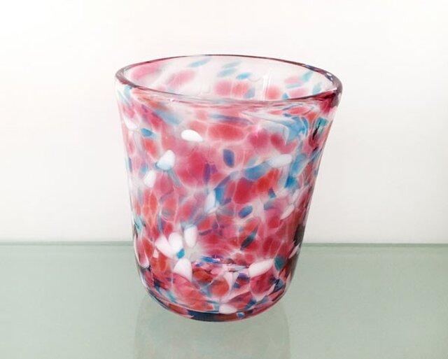 彩グラス(桃と水色05)の画像1枚目