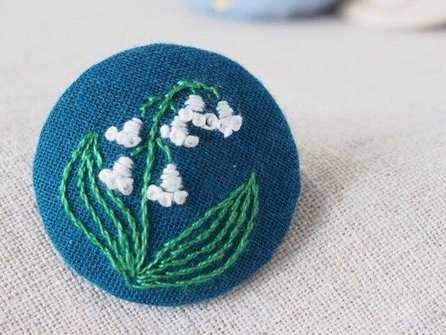 刺繍ブローチ(フォレストグリーン)すずらんの画像1枚目