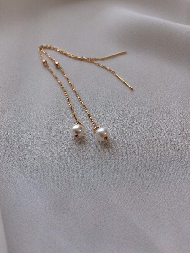 K18 Akoya pearls chain pierceの画像1枚目