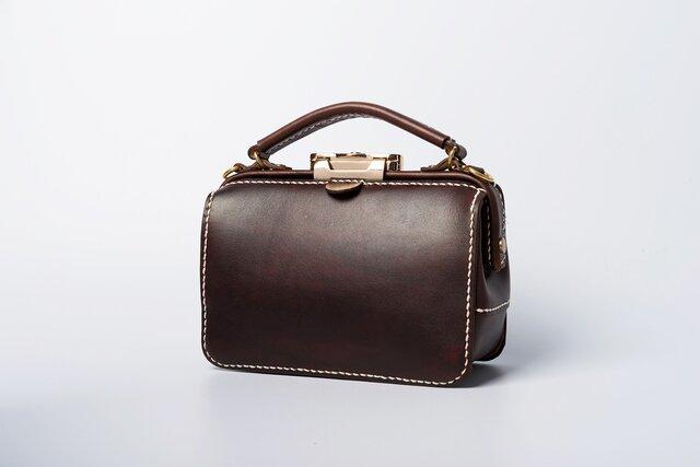 ダレスタイプ 小型 がま口 本革手作りのレザーショルダーバッグ 手染め / 総手縫い 手持ち 肩掛け 2WAY 鞄の画像1枚目