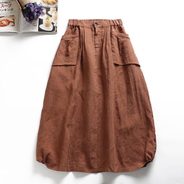f8050817  麻100% ポケット付き スカート ロングスカートの画像1枚目