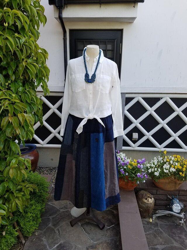 着物リメイク 手作り 蚊がすり リバーシブル スカートの画像1枚目