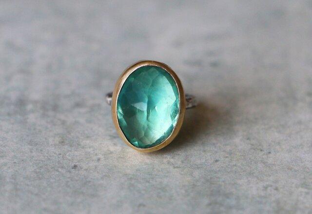 天然石*グリーン・フローライト 指輪*7.5号 の画像1枚目