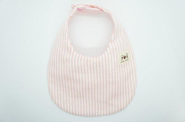 《ふんわり撥水スタイ》ストライプ×うさぎとくまのタグ・ピンクの画像1枚目