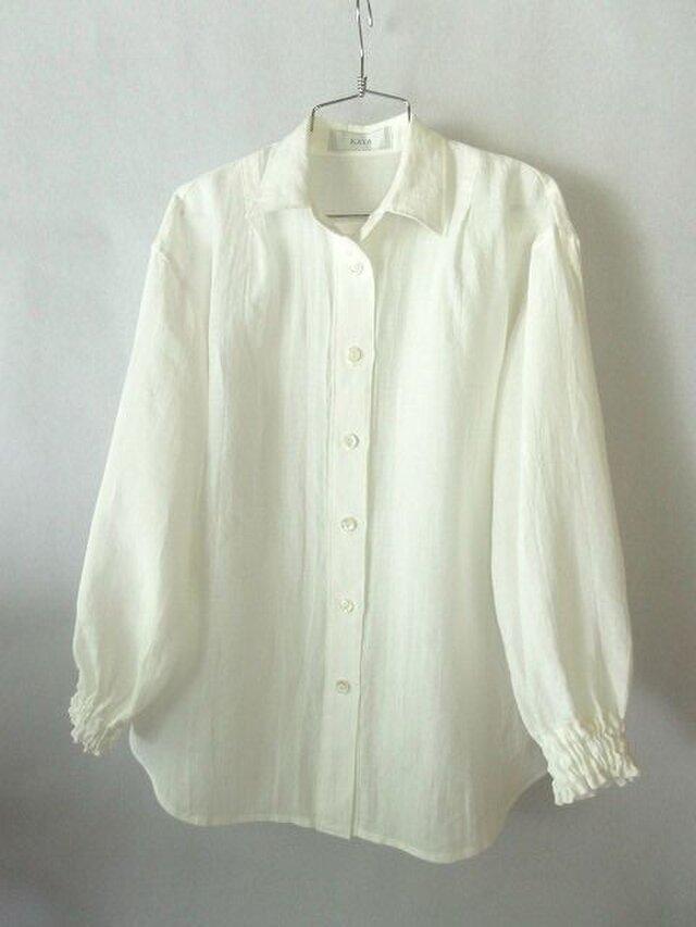 上質のベルギーリネンの白いシャツ(1)の画像1枚目