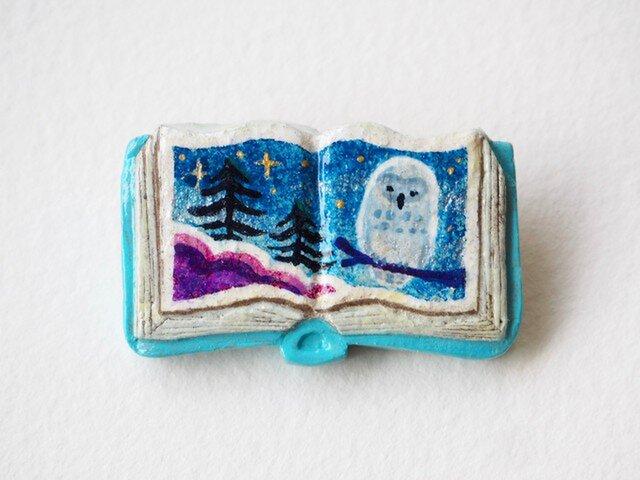 送料無料◆絵本みたいな陶土のブローチ《フクロウの夜》の画像1枚目