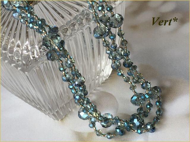 《受注品》ブルーグレーロンデルカットグラスグリフィン(ベージュ)ロングネックレスの画像1枚目
