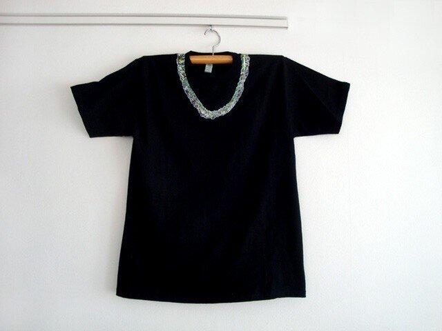 シロツメネックレスTシャツ(MENS/ブラック)の画像1枚目