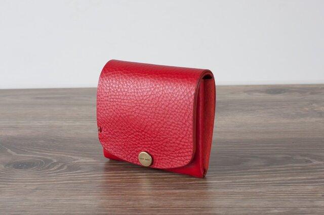 イタリア製牛革の二つ折りピッコロ財布 / レッドの画像1枚目