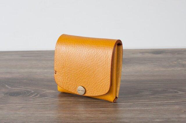 イタリア製牛革の二つ折りピッコロ財布 / イエロー※受注製作の画像1枚目