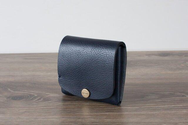 イタリア製牛革の二つ折りピッコロ財布 / ネイビー※受注製作の画像1枚目