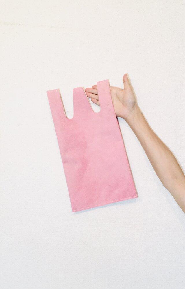 牛革 ピンク コンビニエンスバッグ Sサイズ トートバッグの画像1枚目