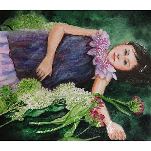 水彩・原画「紫陽花と少女」の画像1枚目