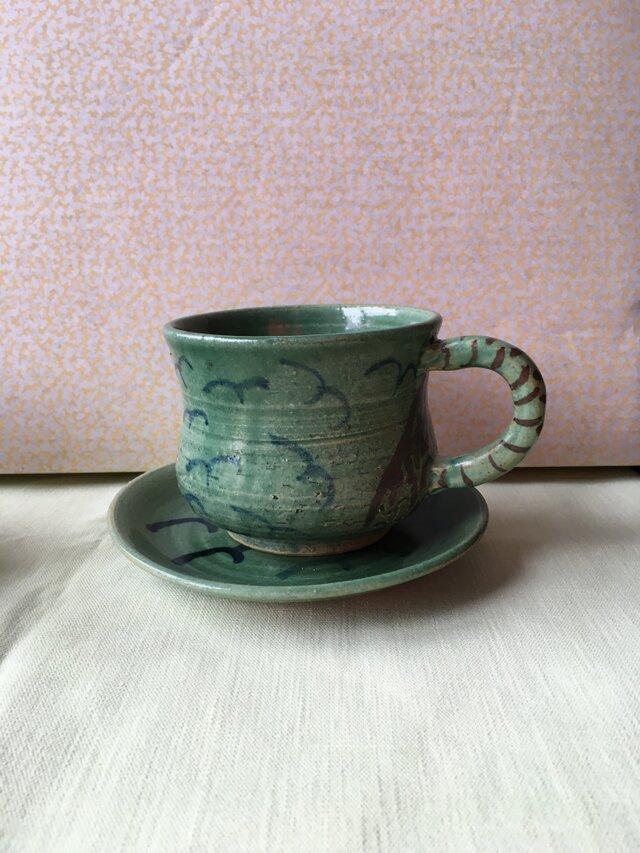 みどり釉コーヒーカップ&ソーサーの画像1枚目