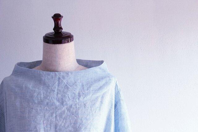 【受注製作】国産リネン100%ブルーボーダー ボトルネックサックワンピースの画像1枚目