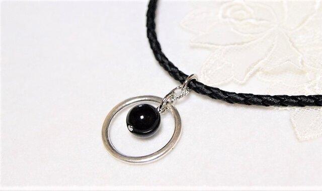 大粒モリオン(黒水晶)のカジュアルお守りダブルリングペンダント6の画像1枚目