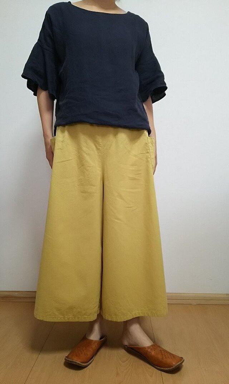 受注製作☆ハーフリネン☆選べる4色☆ギャザーワイドパンツ☆の画像1枚目