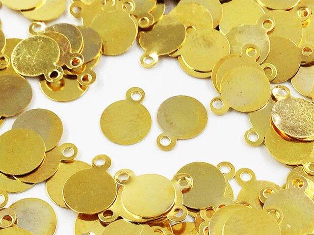 送料無料 メタル パーツ プレート 丸 6mm ゴールド 200枚 カン付き ピアス イヤリング パーツ (AP0503)の画像1枚目