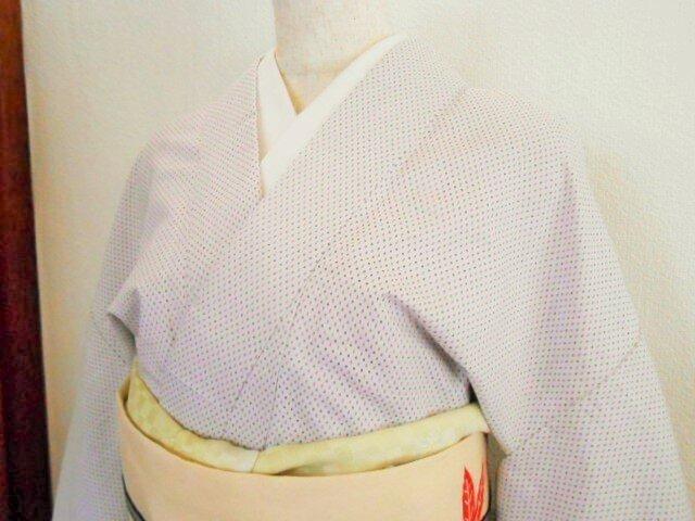 【セール】綿のきもの・白絣風の画像1枚目