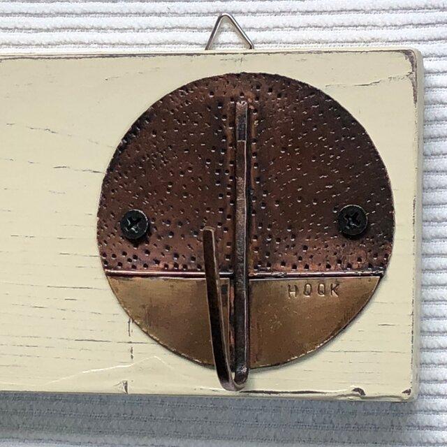 4連『銅+真鍮手作りフック』アンティーク風壁掛けフックの画像1枚目