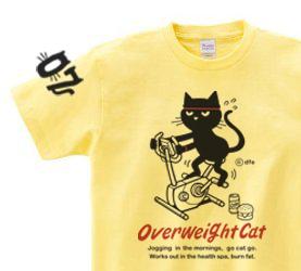 【即納品】フィットネスバイクと猫  Sサイズ(女性M-L相当) Tシャツの画像1枚目